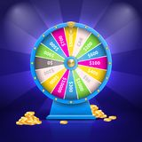 Fortune Wheel and Money Poster Vector Illustration. Fortune wheel with colorful sectors and number of sum of money, golden coins and stripes, poster vector Stock Images