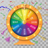 Fortune of wheel and confetti. Vector illustration. Ob transparent background Royalty Free Stock Image