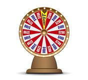 Fortune wheel 3d object isolated on white background. Golden Wheel of luck lottery. Jack Pot.  Royalty Free Stock Images