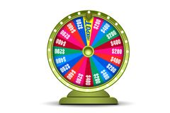 Fortune wheel 3d object isolated on white background. Wheel of luck. Online casino banner. Gambling concept.  Royalty Free Stock Photos