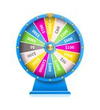 Fortune Wheel of Luck Automatic Gambling Machine. In blue framing vector illustration isolated on white background. Online casino realistic roulette Stock Photo