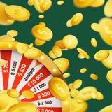 Fortune wheel million dollar cash money prize win. Online web casino background. Coin Rain. Luck and Fortune. Vector illustration stock illustration