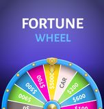 Fortune Wheel Poster with Earnings in 5000 Dollars. Money prize in casino vector illustration isolated on blue background. Gambling game concept Stock Photography