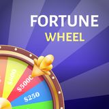 Fortune Wheel Poster with Earnings in 5000 Dollars. Money prize in casino vector illustration isolated on blue background. Gambling game concept Royalty Free Stock Image