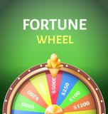 Fortune Wheel Poster with Earnings in 5000 Dollars. Money prize in casino vector illustration isolated on green background. Gambling game concept Royalty Free Stock Photo