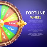 Fortune Wheel Poster, Place for Text Full Length. Fortune wheel poster with place for text and full length of entertainment round gambling machine with spin Stock Image