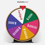 Fortune wheel six segmentation. Six segmentation fortune wheel lottery object. Gamble jackpot prize spin with shadow. Round drum casino money game vector illustration