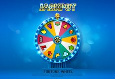 Fortune wheel spinning  on bokeh background Royalty Free Stock Images