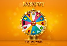 Fortune wheel spinning  on bokeh background. Vector illustration Stock Photo