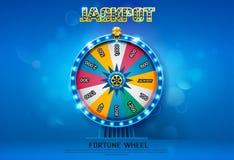 Fortune wheel spinning on bokeh background stock illustration