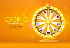 Fortune wheel spinning on bokeh background royalty free illustration