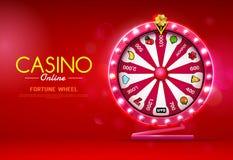 Fortune wheel spinning casino online on bokeh background vector illustration