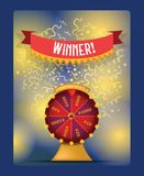 Fortune wheel vector spin game casino roulette with arrow congratulation for lucky winner backdrop fortunate wheeled stock illustration