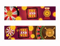 Fortune wheel vector try to win in spin game casino roulette congratulation for lucky winner backdrop fortunate wheeled stock illustration