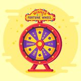 Fortune wheel winner. Lucky chance spin wheels game, modern turning money roulette and gambling vector flat poster. Fortune wheel winner. Lucky chance spin stock illustration