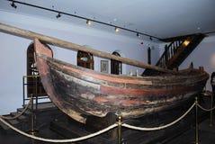 Fortune - a wooden boat. Fortune - a wooden boat of the only ship flotilla amusing Peter I Pleshcheyevo lake extant. Historic monument, the main exhibit of Boat Stock Images