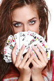 Fortuneteller. The beautiful girl with fortunetelling cards Stock Image