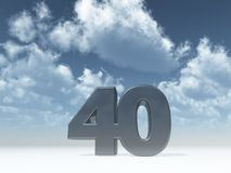 Forty. The number forty - 40 - in front of blue sky - 3d illustration vector illustration