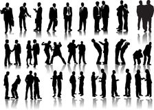 Forty businessmen  silhouettes Royalty Free Stock Image