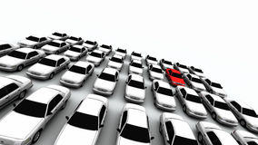 Forty Cars, One Red! Royalty Free Stock Photo