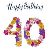 Forty digit made of different flowers  on white background. Happy birthday inscription. Vector illustration Royalty Free Stock Images
