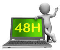 Forty Eight Hour Laptop Character Shows 48h Service Or Delivery. Forty Eight Hour Laptop Character Showing 48h Service Or Delivery Stock Image