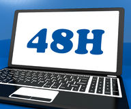 Forty Eight Hour Laptop Shows 48h Service Or Delivery Royalty Free Stock Photo