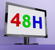 Forty Eight Hour On Monitor Shows 48h Service Royalty Free Stock Image