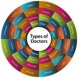 Forty Eight Types of Doctors Chart. An image of a forty eight types of doctors chart Royalty Free Stock Photos