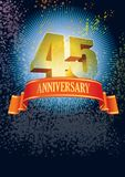 Forty-fifth anniversary. Background with design elements for the poster celebrating forty-fifth anniversary Royalty Free Stock Image