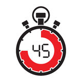 Forty five minute stop watch countdown Royalty Free Stock Photos