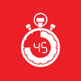 Forty five minute stop watch countdown. A forty five minute stop watch countdown stock illustration