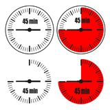 Forty Five Minutes Clock on white background. Four options Vector Illustration