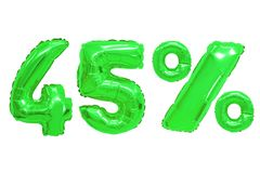 Forty five percent from balloons green color. Forty five percent from green color balloons on isolated background. discounts and sales royalty free stock image