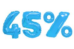 Forty five percent from balloons blue color. Forty five percent from blue color balloons on isolated background. discounts and sales royalty free stock photo