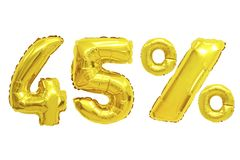 Forty five percent from balloons golden color. Forty five percent from golden color balloons on isolated background. discounts and sales stock images