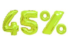 Forty five percent from balloons lime color. Forty five percent from lime color balloons on isolated background. discounts and sales royalty free stock photo