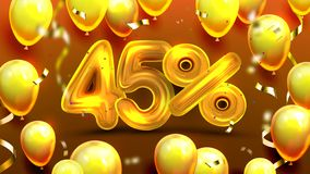 Forty Five Percent Or 45 Marketing Offer Vector. Business Marketing Banner, Storage Promotion On International Women Day With Golden Balloons And Confetti stock illustration