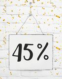 Forty five 45 % percent off black friday sale 45% discount golden party confetti banner billboard 25 percent loaded. Forty five 45 % percent off black friday stock photography