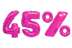 Forty five percent from balloons pink color. Forty five percent from pink color balloons on isolated background. discounts and sales stock photo