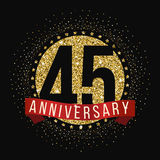 Forty five years anniversary celebration logotype. 45th anniversary logo. Anniversary banner Stock Photos