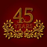Forty five years anniversary celebration patterned logotype. Forty fifth anniversary vintage golden logo. With shadow Stock Photo