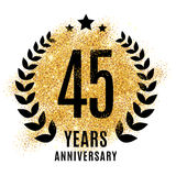 Forty-five years gold anniversary. Forty-five years gold anniversary symbol. 45 twenties. Golden glitter icon celebration for flyer, poster, banner, web header vector illustration