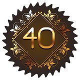 Forty gold number font. In round geometric frame and ornaments vector illustration