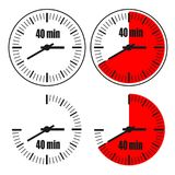 Forty Minutes Clock on white background. Four options Stock Illustration