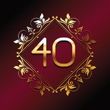 Forty number font font luxury. Forty number font in diamond with ornament over red background royalty free illustration