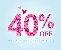 Forty percent discount. Sale symbol. Pink roses. 40 off. Forty percent discount. Spring or summer sale. Figures decorated with roses. Pink flowers on a red royalty free illustration