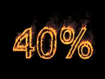 Forty percent 40%. Fiery numerals with smoke on black background. 3d rendering. Digital illustration. Fiery numerals with smoke on black background. Graphic Stock Photo
