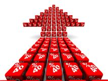 Forty percent growth. Arrow symbol made from cubes. Red arrow made from red cubes labeled forty percentages symbols. Isolated. 3D Illustration royalty free illustration