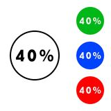 Forty percent icon. Illustration. flat and outline style stock illustration